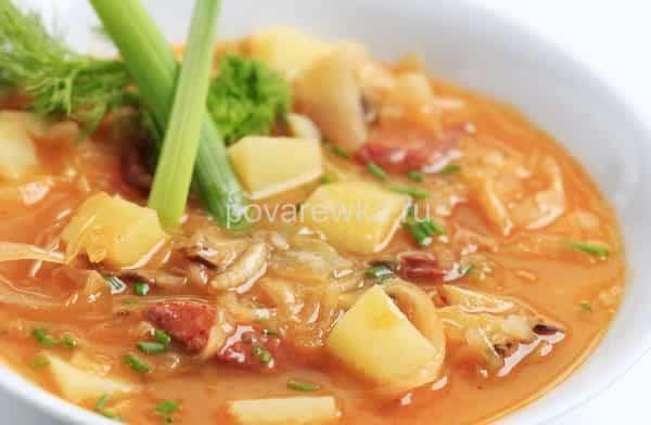 рецепт постного борща с грибами и фасолью