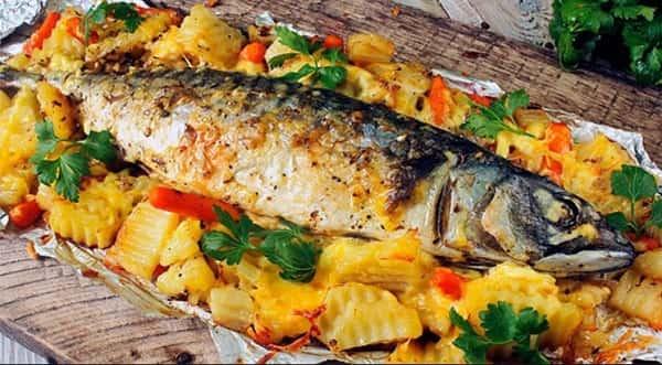 Рыба в картошкой в духовке рецепт пошагово