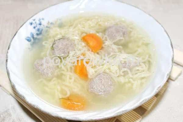 Суп вермишелевый с мясными фрикадельками