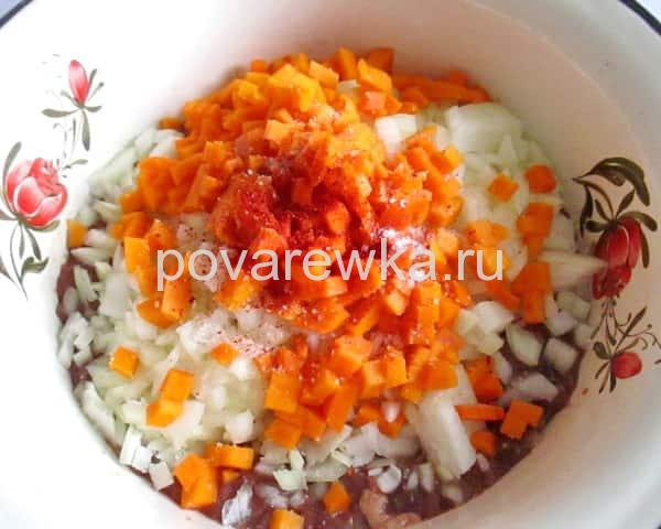 Начинка для мантов из печени с тыквой и луком