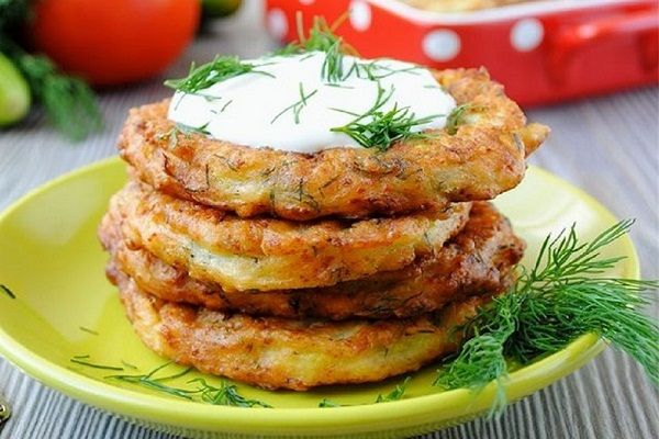 Оладьи из кабачков с картофелем