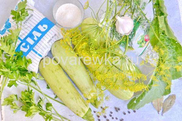 Маринованные кабачки на зиму ингредиенты