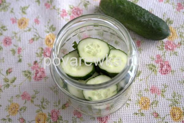 Огурцы кольцами для овощного салата на зиму в банках