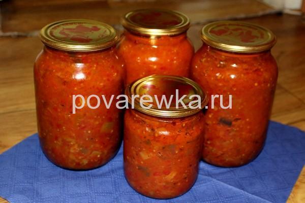 Икра из баклажан на зиму с томатной пастой