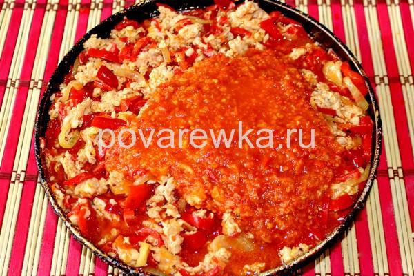 Мусака по-гречески с фаршем куриным