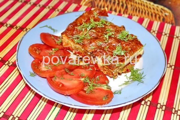 Мусака по-гречески с картофелем баклажанами и фаршем