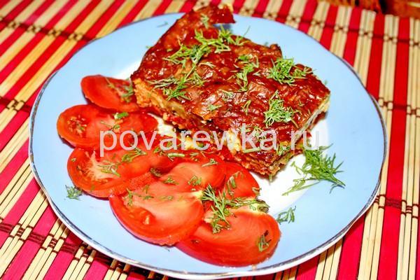 Греческая мусака с баклажанами помидорами и фаршем