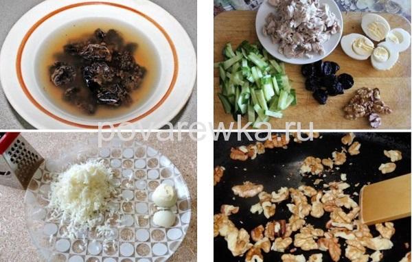 Салат с курицей и черносливом и грецкими орехами