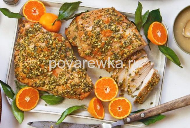 Индейка в духовке сочная и мягкая в маринаде с апельсинами