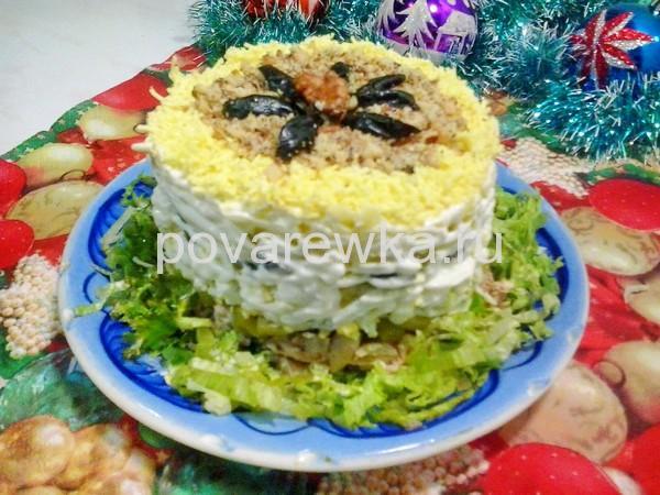 Салат с курицей и грибами: классический простой рецепт новогодний