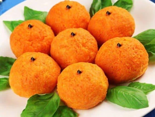 Закуска Мандаринки с сыром морковью и чесноком