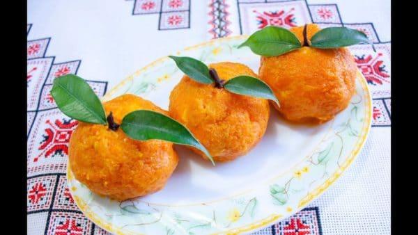Закуска мандаринки с сыром и чесноком