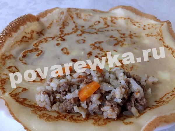 Блинчики с мясом и рисом: рецепт