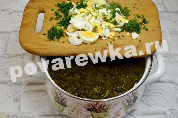 Зелёный борщ с щавелем и яйцом: рецепт классический