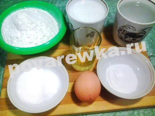 Заварные блины на кефире и кипятке с дырочками: ингредиенты для теста