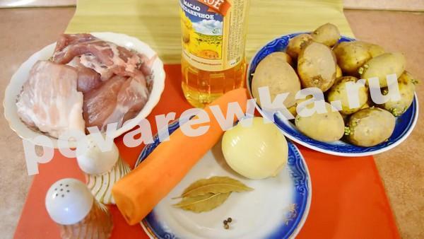 жаркое по домашнему из свинины с картошкой: ингредиенты