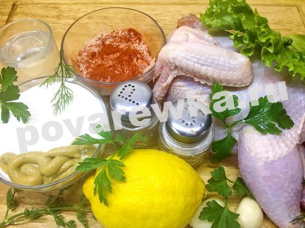 Цыпленок табака в духовке: ингредиенты