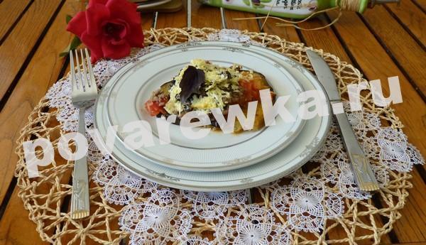 Запеканка из баклажанов с помидорами и макаронами в духовке