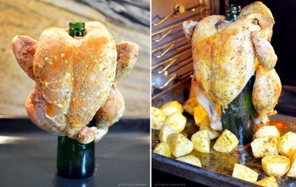 Курица в духовке целиком на бутылке