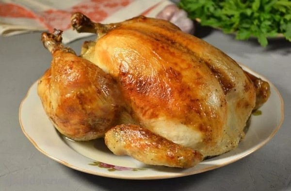 Курица в духовке целиком на солевой подушке