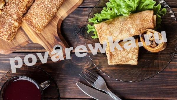 Блинчики с мясом и грибами: пошаговый рецепт с фото