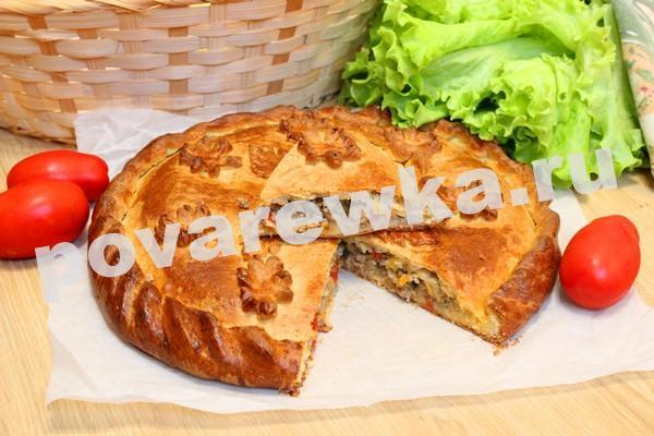 Пирог с мясом в духовке пошаговый рецепт с фото