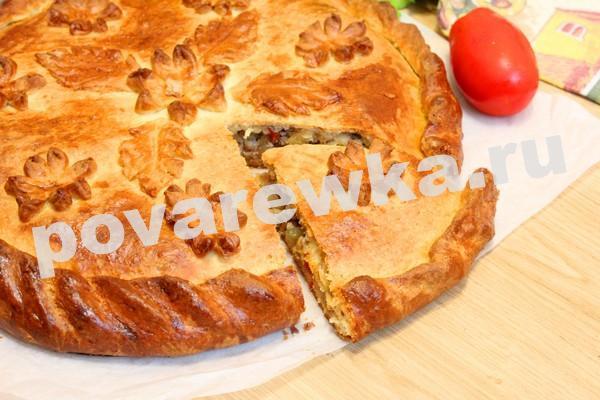 Пирог с мясом в духовке из теста на дрожжах