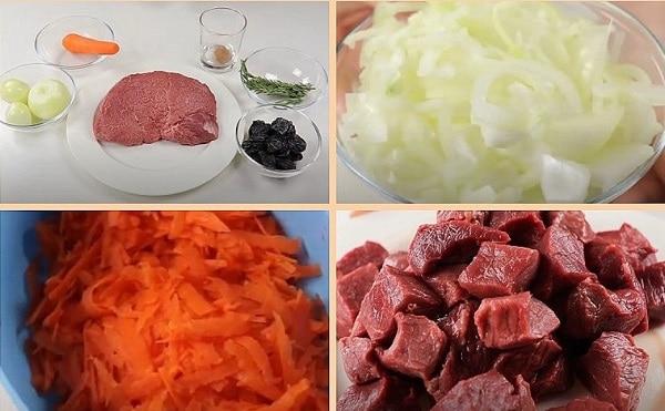 Кусочки мяса морковь и лук